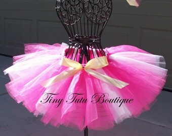 SLEEPING BEAUTY- Pink, White, and Gold  infant/child tutu with hairbow:  Newborn-5T