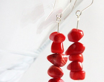 Red Coral Earrings. Large Nuggets Stacked. Sterling Silver. Made in Canada