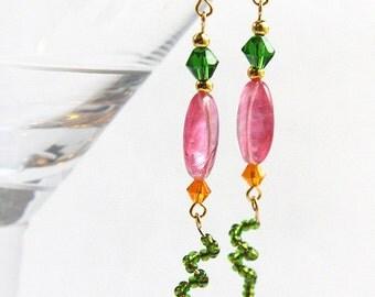 Ladybug Earrings Garden Inspired Earrings Fuchsia Pink Orange Green Bright Colors Long Dangles mothers day gift for gardener jewelry trend