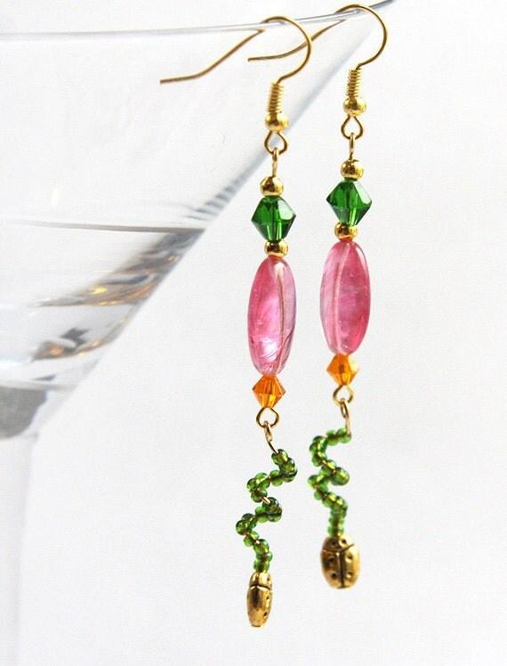 Ladybug Earrings, Garden Inspired Earrings. Fuchsia Pink Orange Green. Bright Colors. Long Dangles mothers day gift for gardener girlfriend