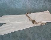 Vintage Opera Length White Kid Leather Gloves