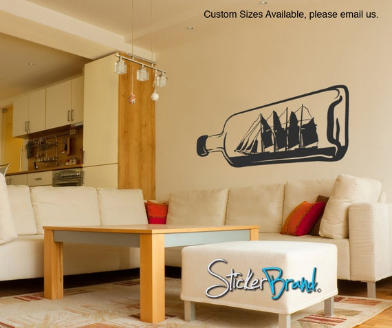 Vinyl Wall Decal Sticker Ship in a Bottle OSMB160s