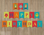 Printable Party Monster Banner, Monster Bunting, Monster Party Flags, DIY