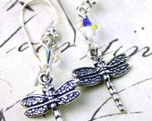 Sterling Silver Dragonfly and Crystal Earrings - Handmade with Swarovski Cry stal - Free US Shipping