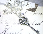 ON SALE - Sterling Silver Key Necklace- The Vintage Crown Key Pendant - Handmade with Sterling Silver and Swarovski Crystal