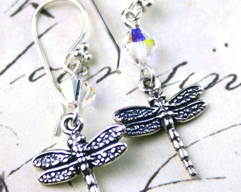 Dragonflies and Crystal Earrings - Handmade with Swarovski Crystal and Sterling Silver