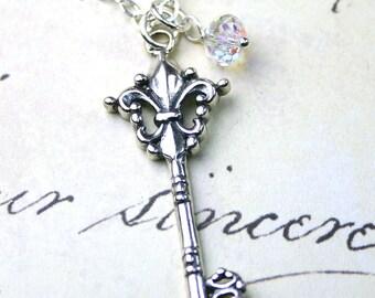 Silver Key Necklace - Vintage Fleur-de-Lis Key Pendant - Sterling Silver Vintage Key Necklace