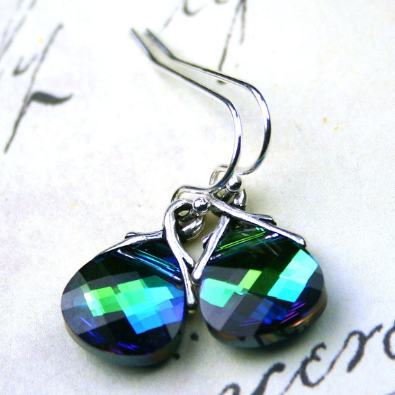 Swarovski Crystal Briolette Earrings in Aqua Sphinx - Peacock Blue - Handmade with Swarovski Crystal and Sterling Silver