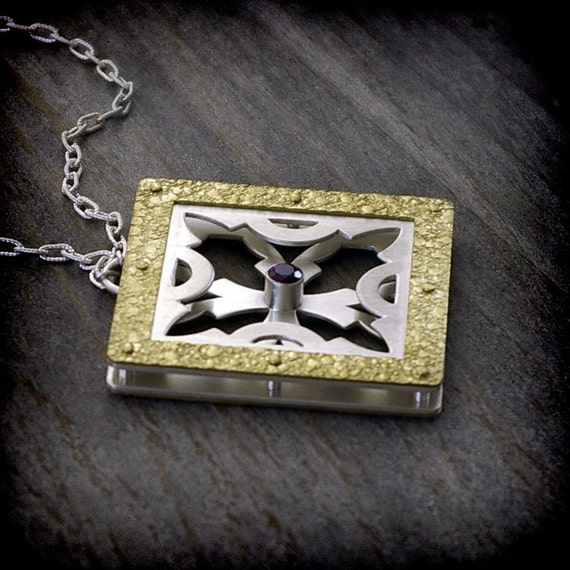 Medieval Collection - Pierced, Riveted Sterling Silver, Brass & Amethyst Pendant Necklace