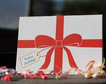 Ribbon Letterpress Birthday Box of 6 Cards