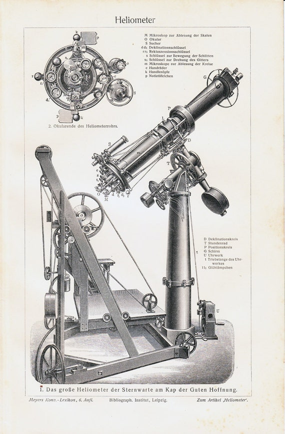 1908 Antique HELIOMETER print, Instrument originally designed for measuring the variation of the sun's diameter, art lithograph