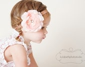 the Bella- blush pink ruffle flower on mocha brown shimmer elastic headband