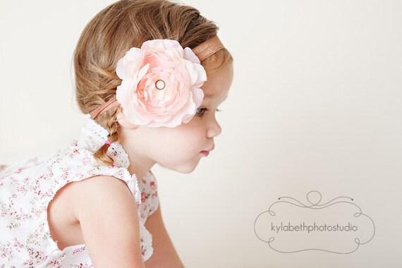 the Bella- blush pink ruffle flower on mocha brown shimmer elastic headband