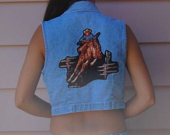 Vintage DENIM VEST with Cowboy Daisy Buttons Small 90s Grunge