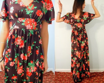 Vintage 60s Black and Pink Rose Flower Maxi Dress with Bell Sleeves
