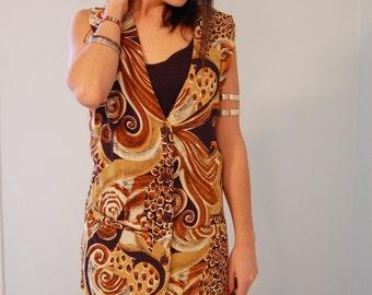 Vintage Mini Festival Dress Tribal Earth Tone GEOMETRIC OVERSIZED VEST