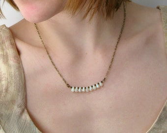 Dainty Brass Necklace, vintage style iridescent off-white glass drop jewelry with antiqued brass chain