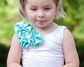 White Flower Girl Top, White Leotard, white top, Birthday outfit, flower girl shirt, aqua blue top