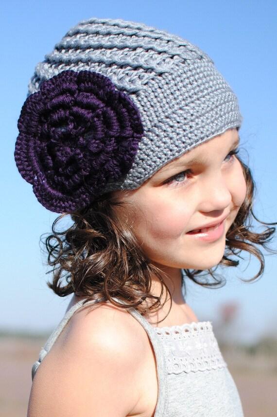 Gray Crocheted Hat with Purple flower, beanie hat, winter hat, adult hat, teen hat, baby hat, newborn hat