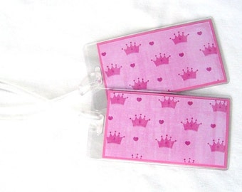 Girl's luggage id tags, hot pink crowns luggage tags, princess travel tags, royal id tags, set of 2 suitcase id tags, baby's id tags