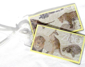 Zoo animals luggage tags, set of 2 wild animals backpack tags, travel tags, kid's luggage id tags, suitcase tags, travel accessories