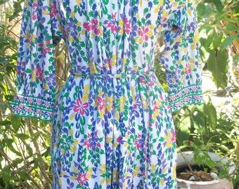 70s AVERARDO BESSI--Print Cotton Dress--Lady Be Good--Pucci Era--Made in Italy