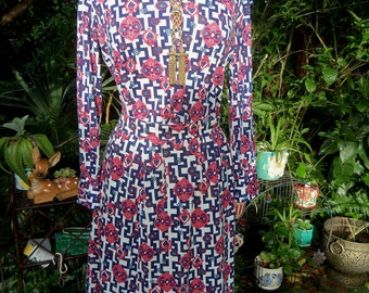60s H. COSENTINO OF CAPRI Set—Made in Italy—Print Pencil Skirt and Top—Greek Key—Cotton Jersey—Pink and Blue—Pucci Era