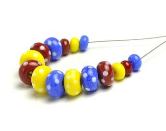 Lampwork Beads | Bright Dotty Lampwork Glass Bead Set | Blue Red Yellow White Dots | UK SRA