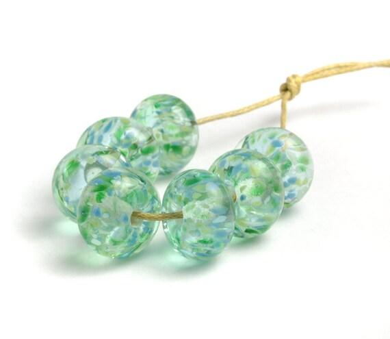 Lampwork Beads | Green Lampwork Glass Bead Set | 'Spring Fresh' | UK SRA Artisan Beads | Flameworked Beads