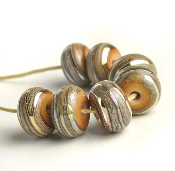 Gold Lampwork Glass Bead Set - 'Midas Sand' - UK SRA Artisan Beads
