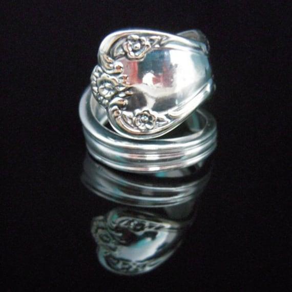 Silver Spoon Ring, Daybreak aka Elegant Lady, Ornate Spoon Jewelry