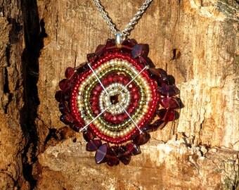 African Necklace, Garnet Pendant Necklace, Garnet Necklace, Garnet and Gold Handmade Beadwork (Medium)
