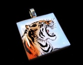 SALE Roaring Tiger Square Wood Tile Pendant
