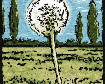 Dandelion Faux Woodcut Print or Original Illustration in Blue Green White and Black