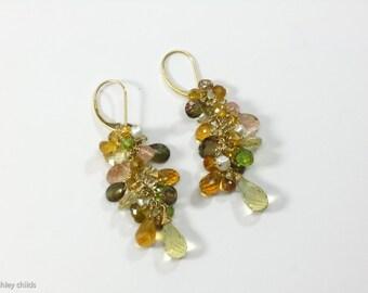 14kt Gold, Andalusite, Citrine, Lemon & Rose Quartz, Peridot, Sunstone, Cluster Earrings, AC0553