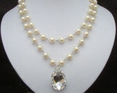 Pearl Necklace,Bridal Statement Pearl Necklace,Swarovski Crystal Teardrop,Rhinestone Wedding Necklace,Crystal Wedding Necklace,Pearl,SAHARA