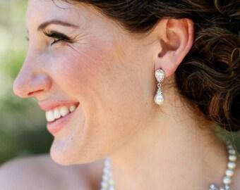 Bridal rhinestone Earrings rhinestone and Pearl wedding Earrings white swarovski pearl Wedding Pearl Earrings cubic zirconia earrings AUDREY
