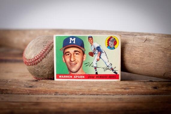 Vintage 1955 Topps Warren Spahn Baseball Trading Card, BV 100.00