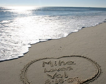 Names in the Sand Beach Writings Custom Valentine Download & Print OOAK Heart Shore Ocean Love Couple Anniversary