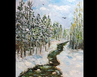 Winter Stream Snow Scene, Original Oil Painting, Thick Palette Knife Painting, Creek in the Snow