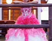 Stunning Alternative Wedding Dress in Pink and White Custom Handmade to your Measurements Colorful Bridal Gown