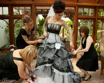 Sensational Gothic Wedding Dress in Black and White