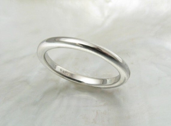 2mm High Dome Wedding Band Stacking Ring In Platinum