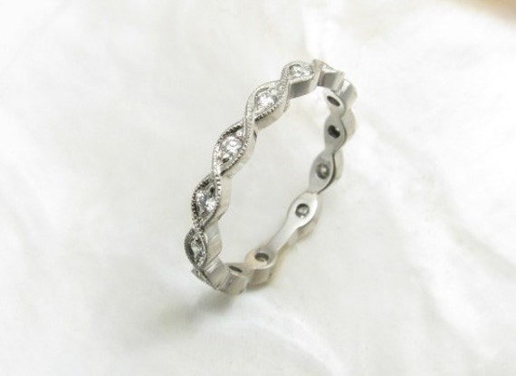 platinum and diamond eternity band / wedding ring with milgrain borders