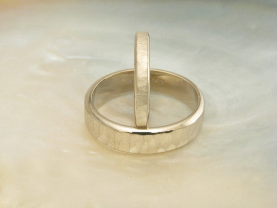 custom wedding rings -- hammered wedding band set in 14k palladium white gold