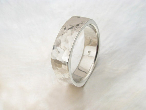 square men's wedding band -- 7mm 14k white gold square hammered ring, comfort fit