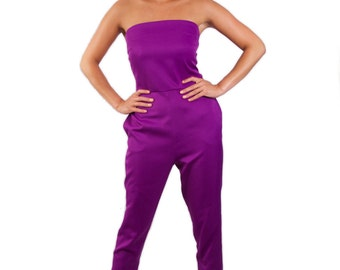 Wonderland strapless long legged 'Tweedle D Jumpsuit' *Limited Edition - Purple