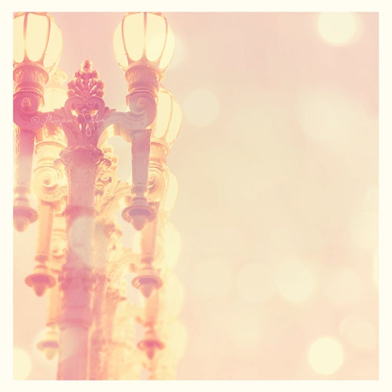 Romantic photography, iron lamp post photograph, night, Los Angeles, LACMA, french cottage chic, architecture, peach pink nursery art