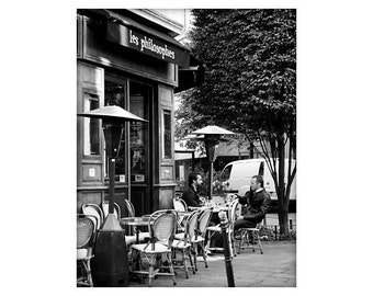 Paris Cafe,The Philosophers, French Sidewalk Cafe, Paris, France, Black and White, Unmatted 8x10 Print