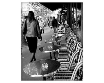 French Sidewalk Cafe, Paris, France, Black and White, Unmatted 8x10 Print
